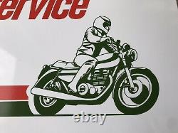 NOS Original Castrol Motorcycle Service Sign Kawasaki Honda Suzuki 24x16