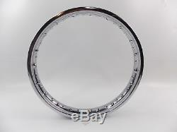 NOS TAKASAGO CHROME STEEL WHEEL RIM 185Bx19 W R 40 SPOKES YAMAHA SUZUKI KAWASAKI