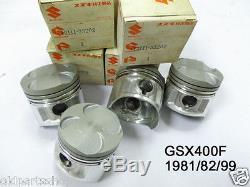 Suzuki GSX400 Piston STD x4 NOS GSX400F STANDARD SIZE PISTONS 12111-33202 GSX400