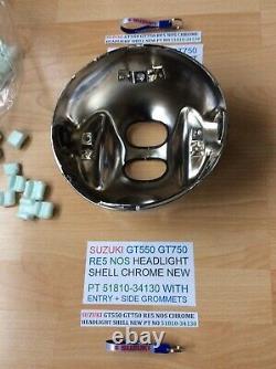 Suzuki Gt550 Gt750 Re5 Nos Chrome Headlight Shell New Pt 51810-34130 Obsolete